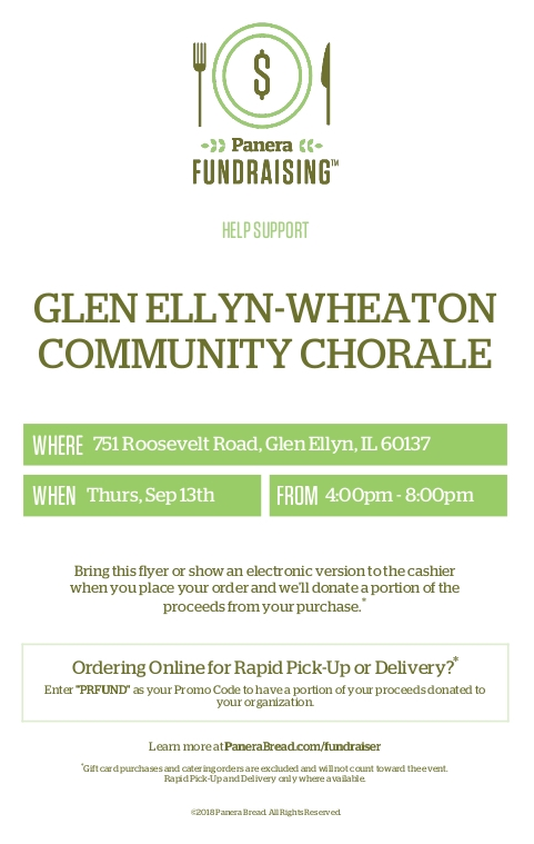Glen Ellyn-Wheaton Chorale - Panera Fundraising Event